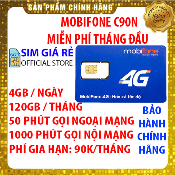 Sim 4g Mobifone C90N gói 4Gb/ngày (120Gb/tháng) + 50 phút gọi ngoại mạng + 1000 phút gọi nội mạng - Sim Mobi C90N xài thả ga - Sim chưa có gói - Shop sim giá rẻ