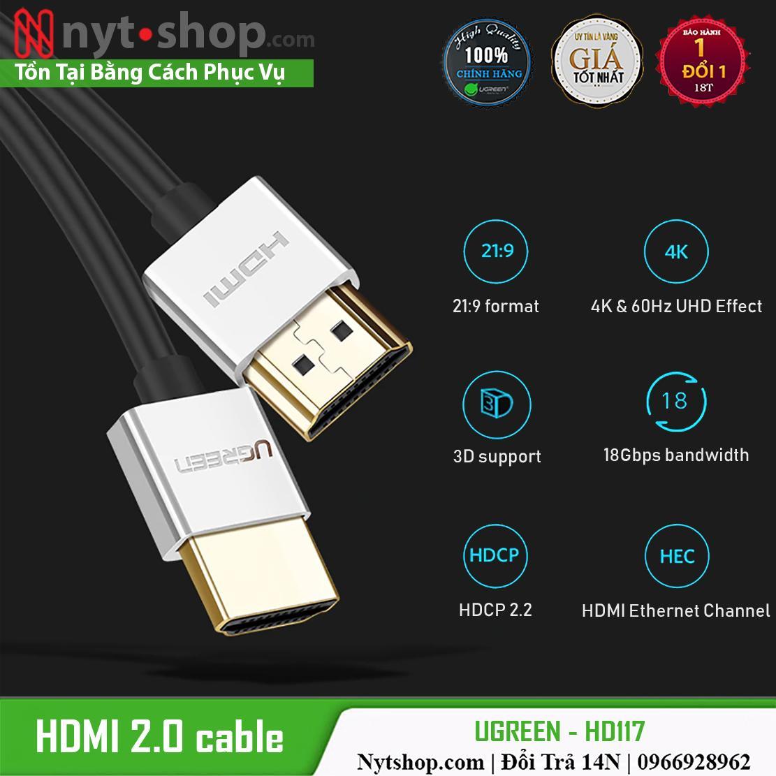 Giá Cáp HDMI 2.0 Sợi Siêu Nhỏ Cao Cấp UGREEN HD117  Chuẩn 4K@60Hz Điện máy Tân Đại Phát