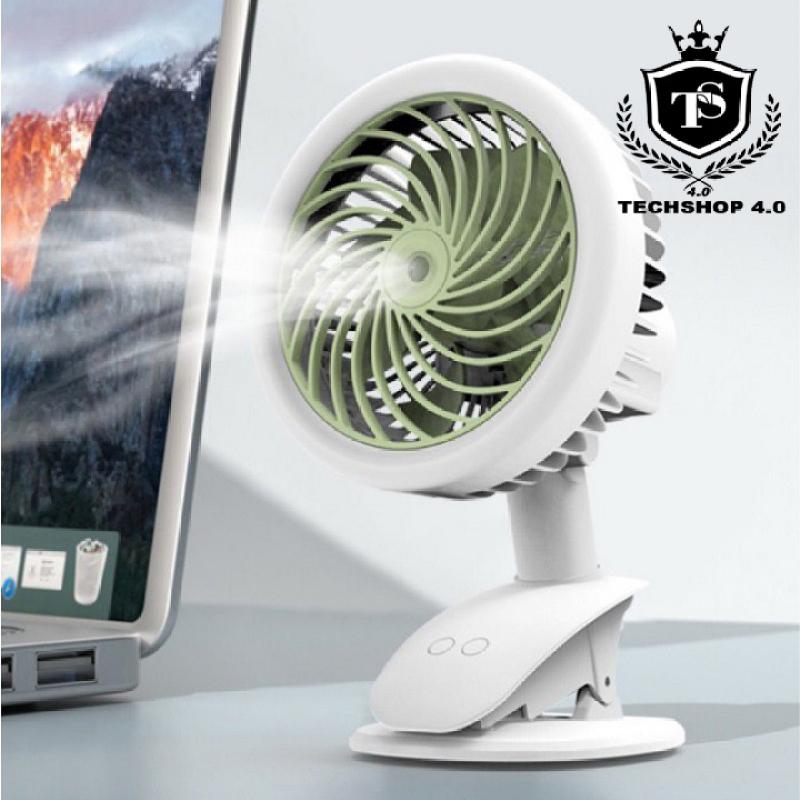 Quạt tích điện phun sương tạo ẩm Clip Fan, đa chức năng, sac usb, tích điện