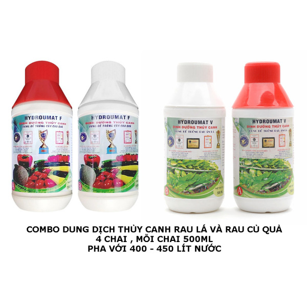 Combo 2 bộ dung dịch thủy canh Rau Lá Củ Quả HDROUMART 2 Lít