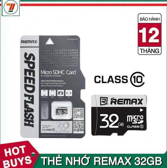 Thẻ nhớ MicroSDHC 32GB thương hiệu Remax bảo hành 12 tháng lỗi 1 đổi 1