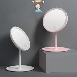 Gương trang điểm tròn để bàn có đèn LED, Gương trang điểm cảm ứng màn hình, Gương trang điểm cao cấp thumbnail