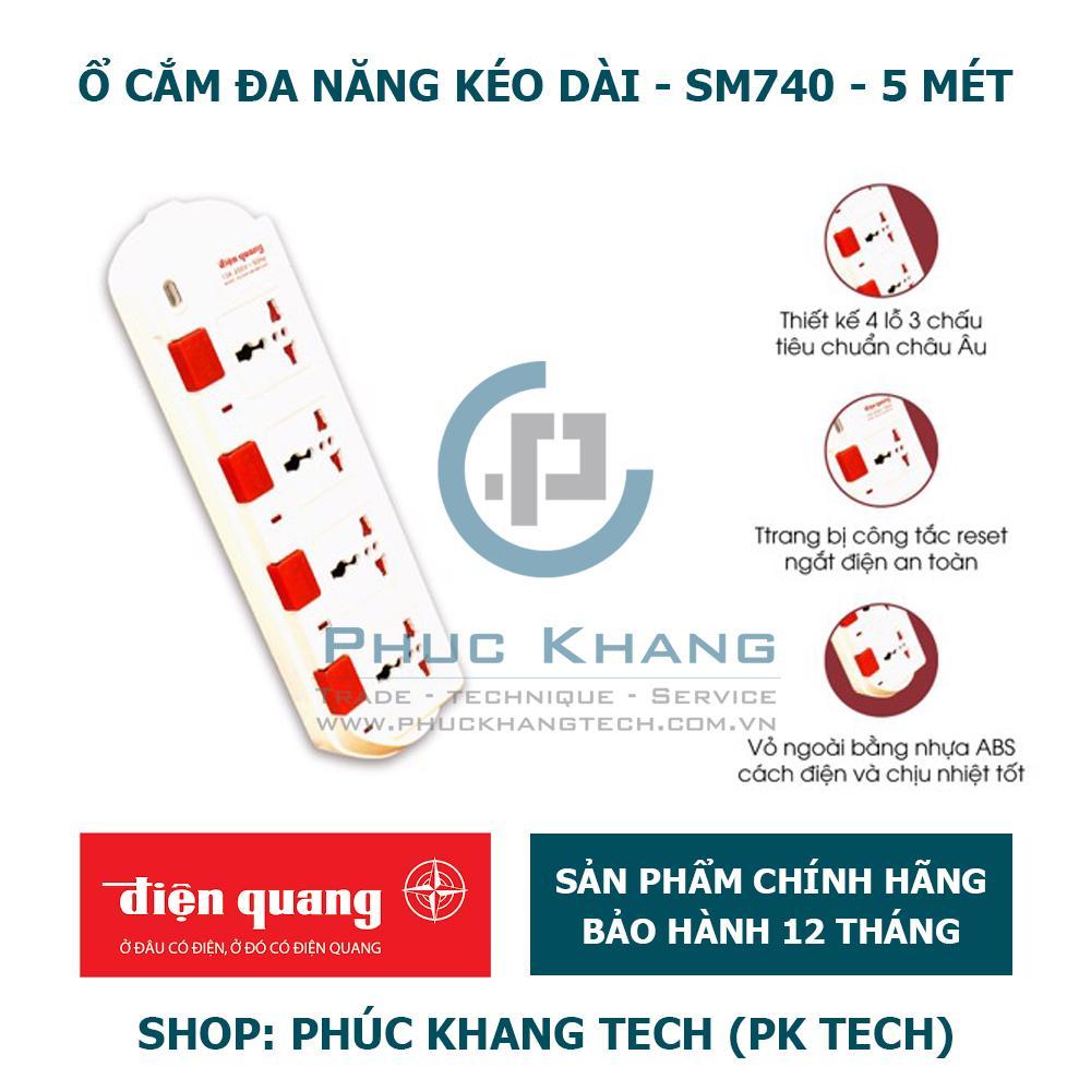 Ổ Cắm Điện Quang ĐQ ESK SM740SL -5M, 4 Lỗ 3 Chấu (Phúc Khang Tech)