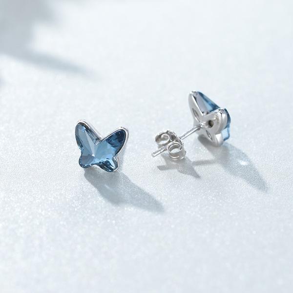 Bông Tai Khuyên Vàng Khuyên Tai Bạc Hình Con Bướm Xanh Ngọc B2565 - Bảo Ngọc Jewelry