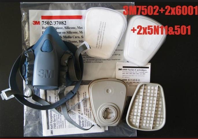 Trọn bộ mặt nạ phòng độc khói bụi 3M-7502 gồm 1 mặt nạ + 2 phin lọc 3M-6001+ 2 tấm lọc+ 2 nắp