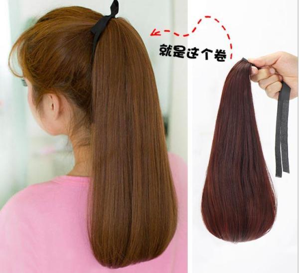 (4 màu) Tóc giả nữ cột đuôi thẳng cụp -Cực trẻ trung năng động nhập khẩu