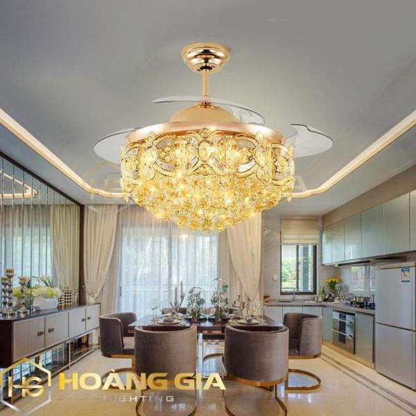 Quạt trần - Quạt trần đèn - Quạt trần trang trí -  (Bảo hành 5 năm) Quạt trần đèn dấu cánh hoa cúc pha lê cao cấp