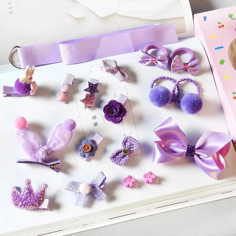 Kẹp tóc cho bé gái 18 chi tiết kèm hộp màu hồng