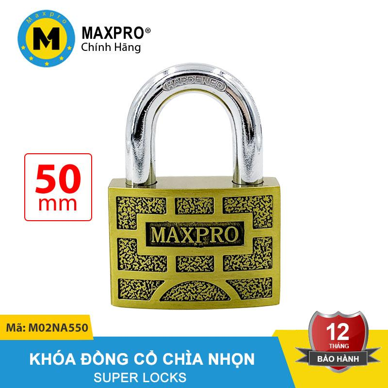 Ổ Khóa Vàng Ô Vuông Đồng Cổ MAXPRO Càng Thường Chìa Nhọn 50mm - M02NA550