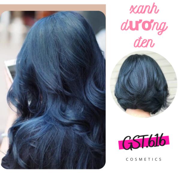 Thuốc nhuộm tóc màu xanh dương đen GST 616 kem nhuộm tóc tại nhà nam nữ