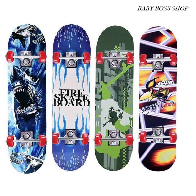 Ván Trượt Trẻ Em- Ván Trượt Skateboard- Thiết Kế Nhỏ Gọn - Ván Gỗ Dày Khung - Hợp Kim Chắc Chắn