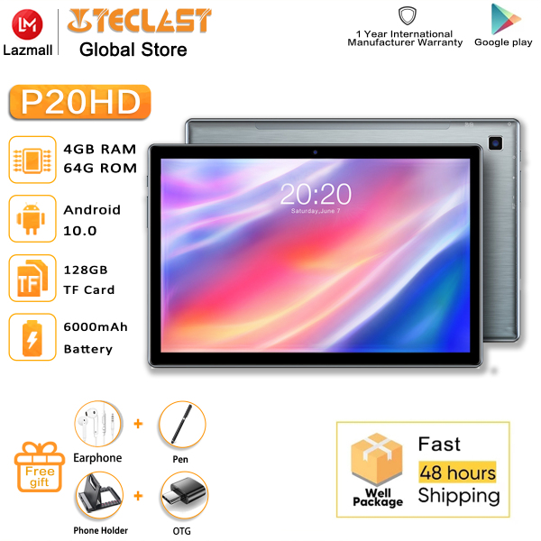 Teclast P20HD Android Tablets Android 10.0 OS 10.1 Inch 4GB RAM 64GB ROM 1920×1200 6000mAh Tablet Battary
