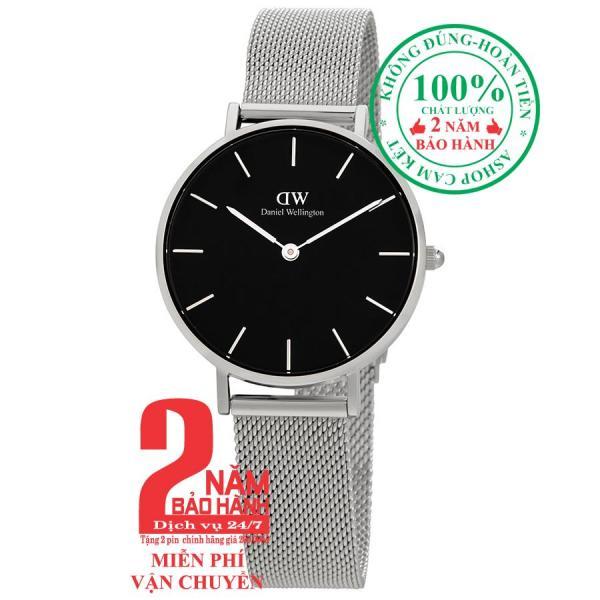 Đồng hồ nữ D.W Classic Petite Sterling -size 32mm - Màu trắng bạc (Silver), mặt đen (Black) DW00100162