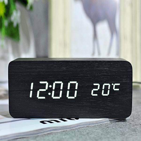Nơi bán Đồng hồ để bàn đèn led khối gỗ chữ nhật siêu đẹp ( báo thức + đo nhiệt độ)