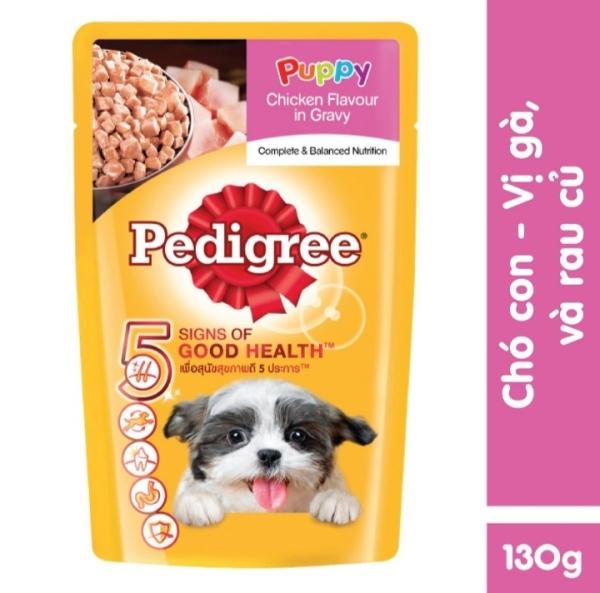 Thức ăn chó con dạng sốt Pedigree vị gà rau củ 130g
