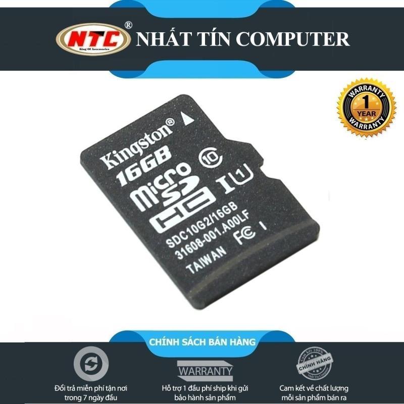 Thẻ nhớ microSDHC Kingston 16GB Class 10 U1 80Mb/s không box (Đen) + Tặng hộp thẻ