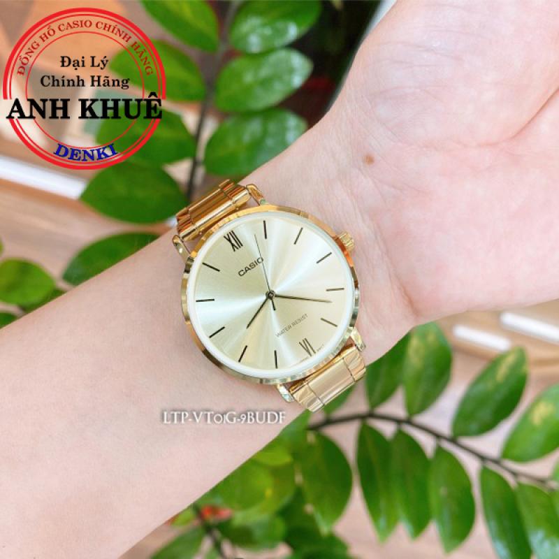 Đồng hồ nữ dây kim loại Casio Standard Anh Khuê LTP-VT01G-9BUDF bên đẹp