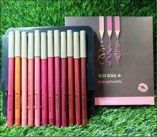 Bộ Son Chì Saem Eco Soul Multi Pencil Lip Set 12 Cây lâu trôi giá rẻ