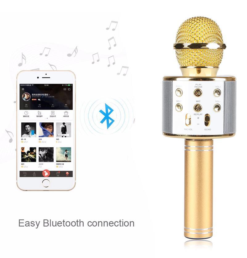 [TẶNG DÂY NỐI RA LOA NGOÀI 25K] Mic Hát Karaoke Bluetooth Không Dây WS858 - Âm vang - Ấm - mic hát karaoke cầm tay mini - micro hát trên xe hơi - mic hát karaoke hay nhất hiện nay
