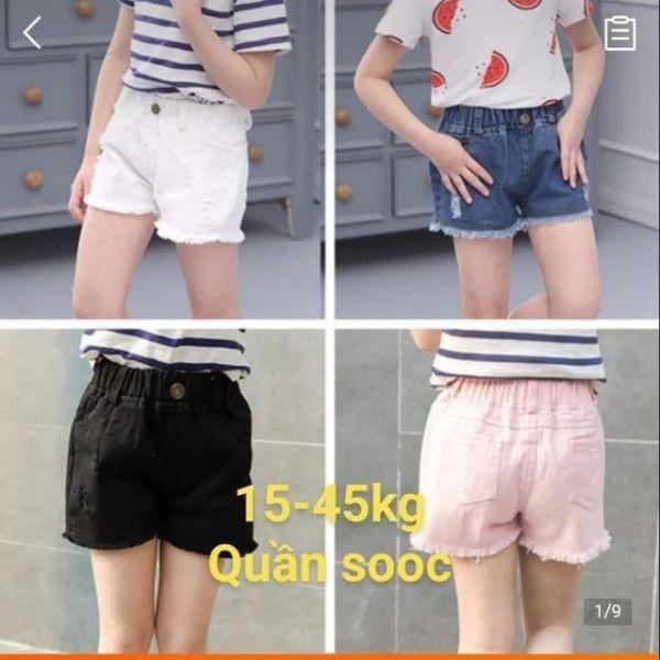 (Liên tục bổ sung lô mới) Quần sooc jeans sooc bò Quảng Châu size nhí đại cho bé gái 15-45kg