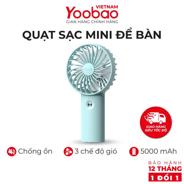 Quạt sạc mini để bàn làm việc YOOBAO F3 Pro 3000mAh - Có thể chạy lên đến khoảng 15 giờ - Hàng phân phối chính hãng - Bảo hành 12 tháng 1 đổi 1
