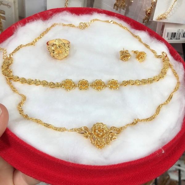 Set bộ trang sức cưới mạ vàng 24k mẫu mới về