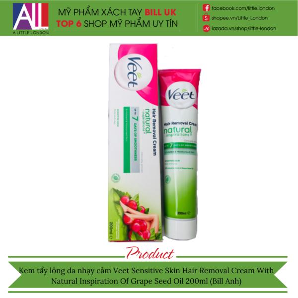 Kem tẩy lông da nhạy cảm Veet Sensitive Skin Hair Removal Cream With Natural Extract Of Grape Seed Oil 200ml (Bill Anh)