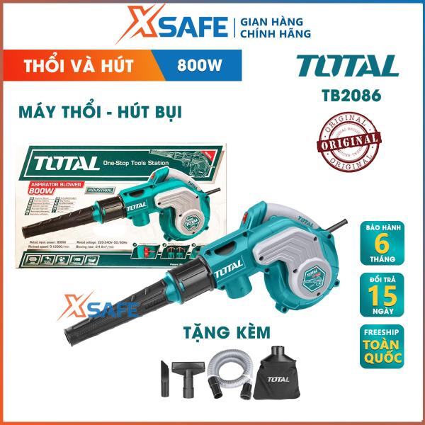 Máy thổi/hút bụi TOTAL TB2086 công suất 800W tặng kèm túi chứa bụi, ống và 2 vòi hút bụi. Máy thổi/hút bụi cầm tay Tốc độ không tải 0-15000rpm, lượng thổi tối đa 0-4.5m³/min, tốc độ thay đổi - Phân phối chính hãng XSAFE