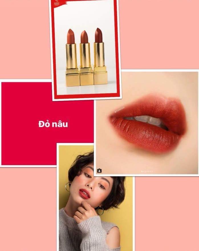 son kem lì bền màu Shi lipstick màu  đỏ nâu