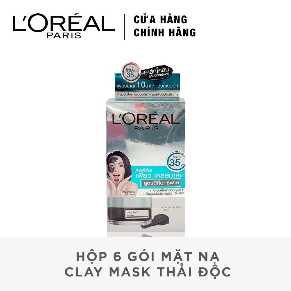 Hộp 6 gói mặt nạ LOreal Paris Clay Mask thải độc _6pcs x 5g
