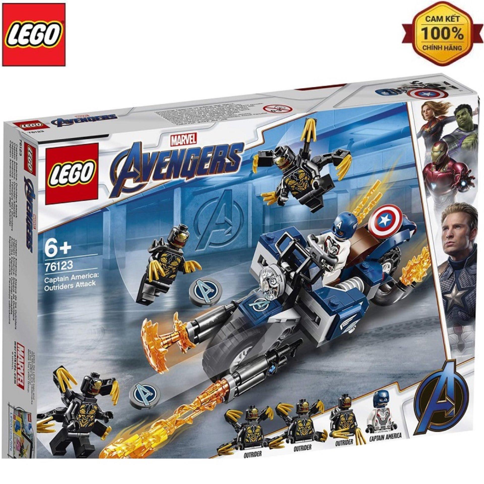 Mô Hình Lắp Ráp LEGO Captain America Đối Đầu Quái Vật Outriders 76123 Siêu Khuyến Mãi