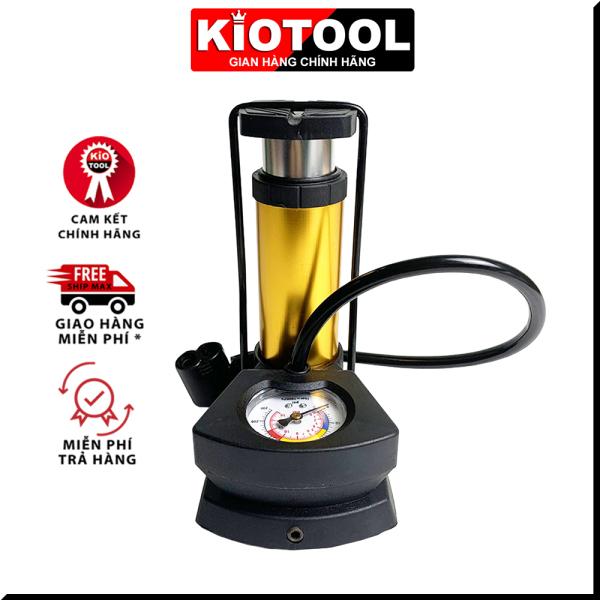 Bơm hợp kim nhôm KIOTOOL  loại đạp chân dùng cho xe đạp, xe máy, ô tô, có đồng hồ báo áp suất nhỏ gọn vừa cốp xe áp suất tối đa lên đến 12kg