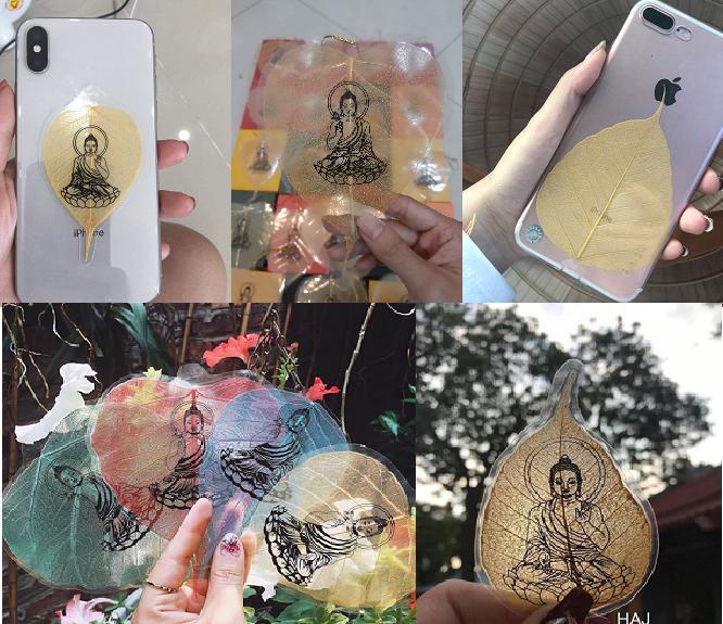 Lá Bồ Đề Vàng In Hình Phật - Cầu tài lộc, bình an, may mắn - 5