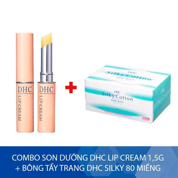 Combo Son dưỡng DHC Lip Cream 1,5g + Bông tẩy trang DHC Silky 80 miếng tốt nhất