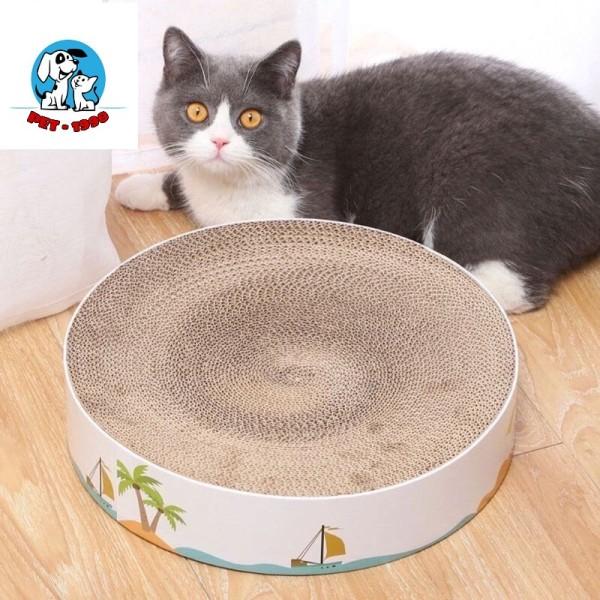 Bàn Cào Móng Hình Tròn - Ổ Nằm Cho Mèo (tặng 1 gói catnip giúp mèo thư giãn)