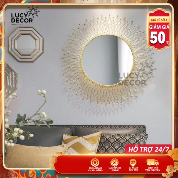 Gương treo tường tròn đan lưới decor cỡ lớn trang trí phòng sang trọng phong cách Châu Âu mã M1004