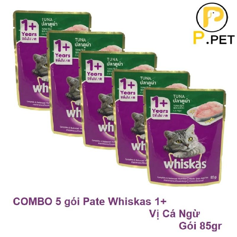 COMBO 5 gói Pate/Sốt Cho Mèo 1 Tuổi + Whiskas - Thức Ăn Pate Cho Mèo - Vị Cá Ngừ - Gói 85gr (P.Pet)