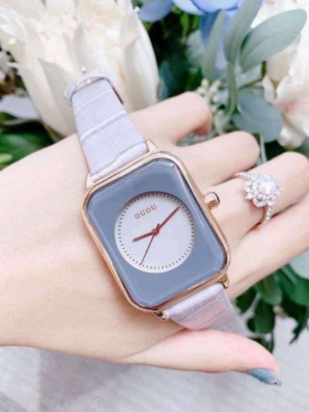 Đồng hồ nữ Guou dây da mặt vuông siêu xinh, thời trang, trẻ trung bán chạy