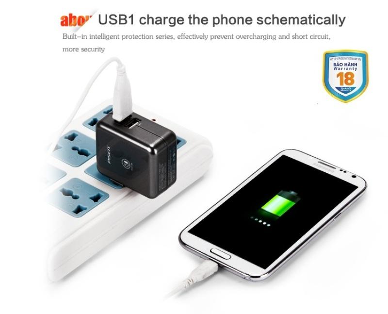 Củ sạc Pisen Dual USB IPAD 1A/2A (Sliver)
