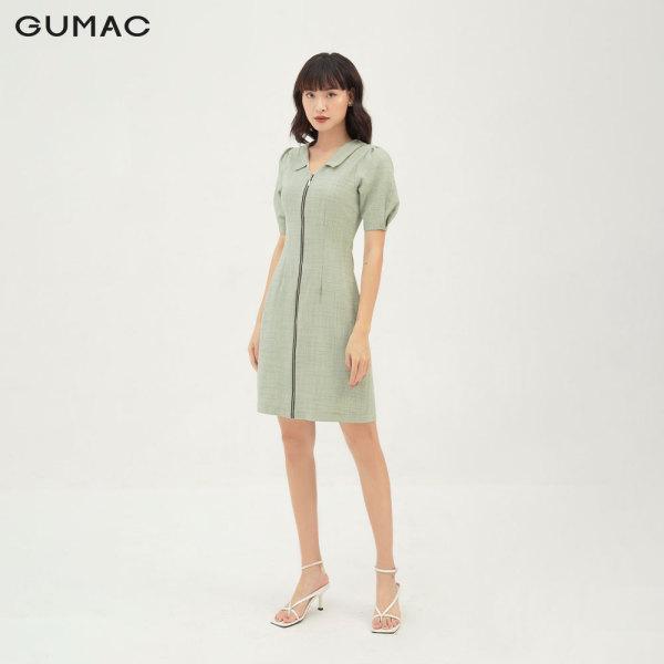 Nơi bán Váy đầm nữ đẹp dáng chữ A phối dây kéo màu xanh thời trang GUMAC mẫu mới DB328