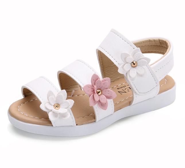 Giá bán Sandal bé gái dép quai hậu cho bé gái đi học gắn hoa siêu xinh