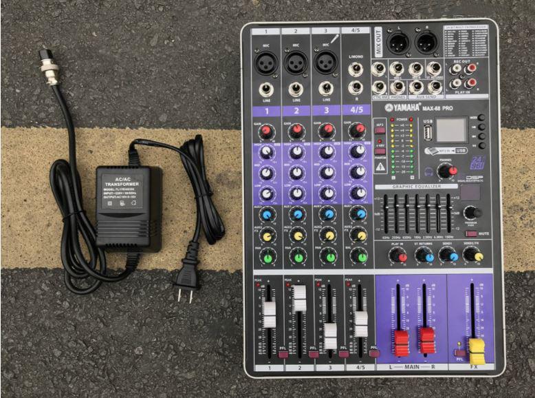 Mixer Audio P.r.o Max 68. Chuyên Dùng Cho Phòng Trà, Mini Bar, Pubs, Show, Ích Hợp Effect Cực Với 99 Hiệu Ứng Reverb, Cục Đẩy Công Suất Lớn, Phần Mềm Hiện Đại, Cưc Bay Và Mượt,Sử Dụng USB Và Bluetooth,Chống Hú Tuyệt Bộ Mixer Yamaha MAX 68
