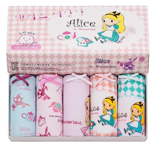 Giá bán Set 5 quần lót trẻ em Hàn Quốc 100% cotton mẫu Alice in wonder land dành cho bé gái