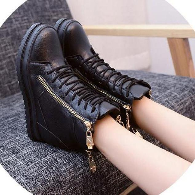 Giày boot nữ cao cổ đế độn phong cách Hàn Quốc B042 giá rẻ