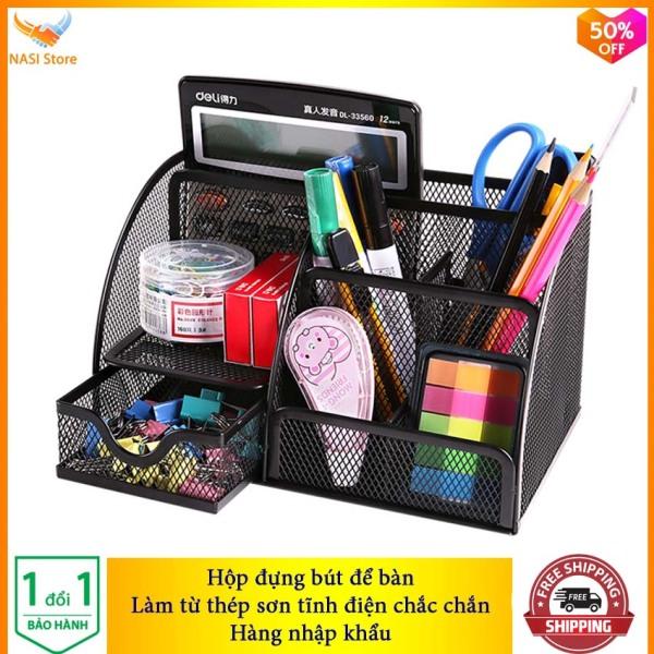 Mua Hộp Đựng Bút để bàn cao cấp NS06 (hàng nhập khẩu) bằng thép sơn tĩnh điện chắc chắn - Hộp đựng bút đa năng, hộp đựng viết, hộp đựng bút văn phòng, hộp đựng bút học sinh, khay đựng bút - NASI Store