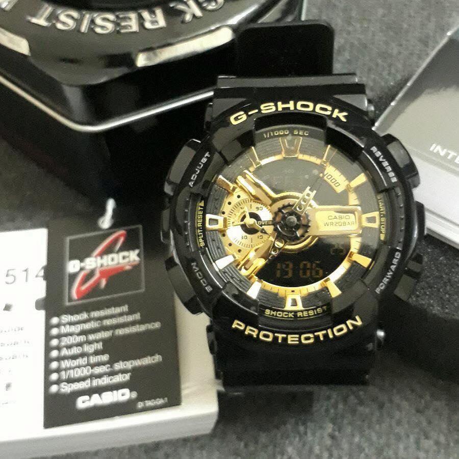 Đồng hồ thể thao nam nữ G Shock - GA110 điện tử chống nước đa năng Full Box Đen vàng bán chạy