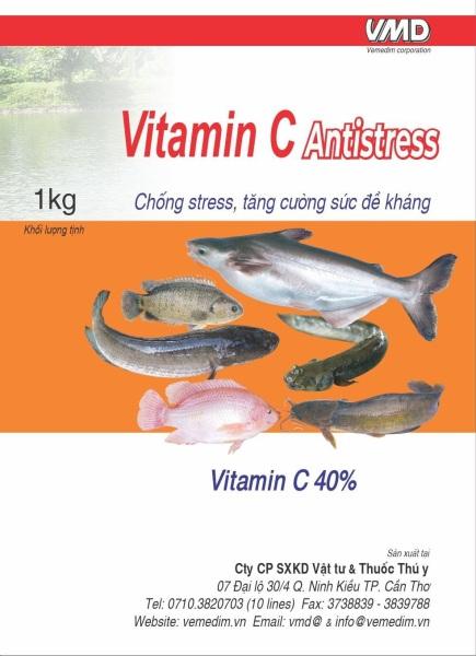 Vitamin C Antistress, vitamin c 40%, chống stress và tăng cường đề kháng cho cá, gói 1kg, Vemedim