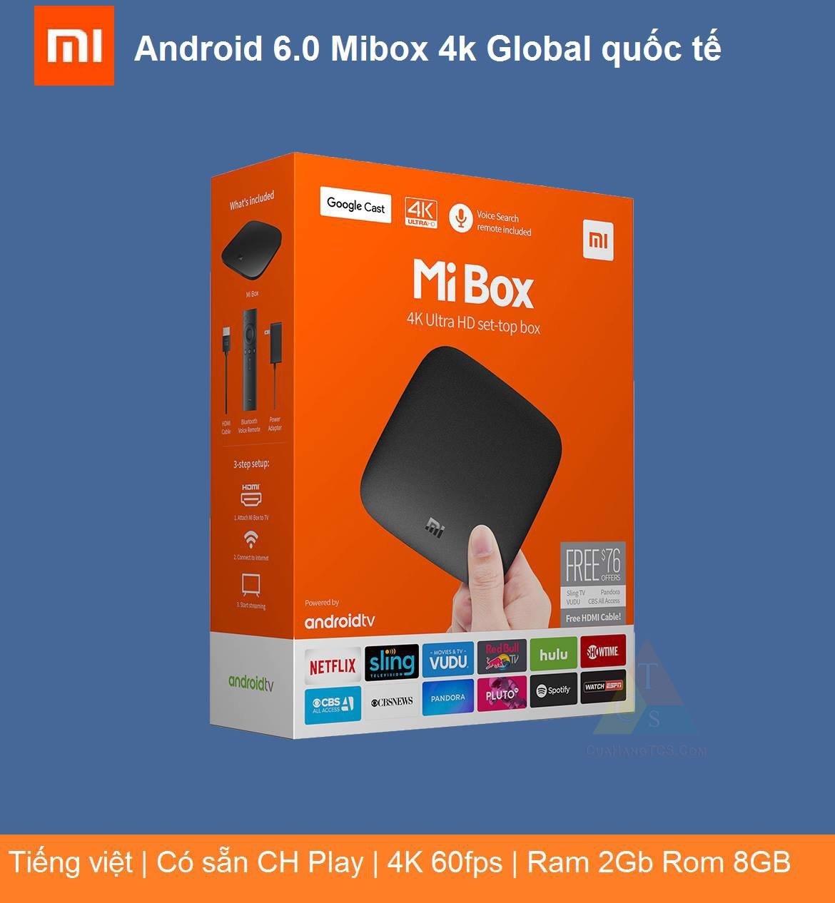 [BẢN Q TẾ] Xiaomi Mi Box 4K Global   đầu Android TV Box   tivi box, mibox   tv box xiaomi, Xiaomi mibox   Hỗ trợ tìm kiếm bằng giọng nói, có kèm điều khiển Kết nối Wifi Bluetooth 4.2   HT STORE