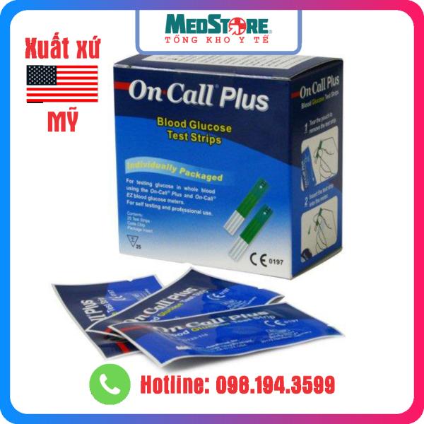 Hộp 25 Que thử đường huyết Acon On Call Plus - TBYT Medstore -Que thử tiểu đường OnCall Plus và máy oncall ez bán chạy