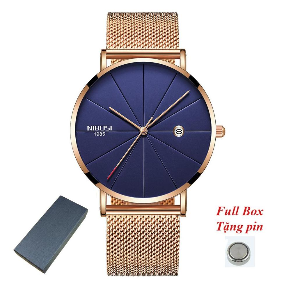 iWATCH-Đồng hồ nam NIBOSI 2321 dây thép lụa siêu mỏng lịch ngày thời thượng IW-NB2321 bán chạy